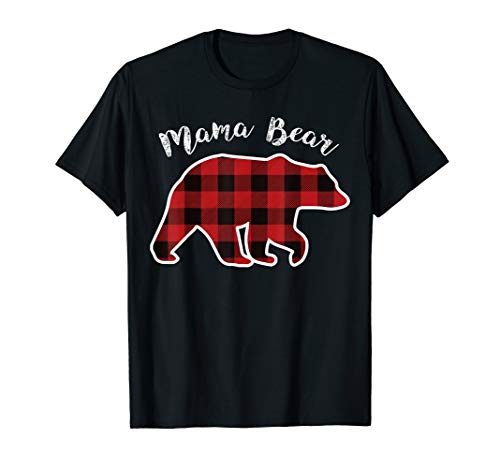 MAMA BEAR | Women Red Plaid Christmas Pajama Family Mom Gift T-Shirt