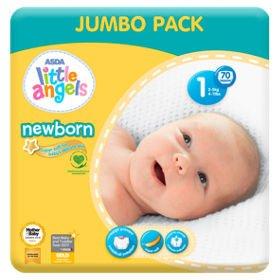 Jumbo Pack 70 Pañales ASDA Little Angels talla 1 para recién nacidos.
