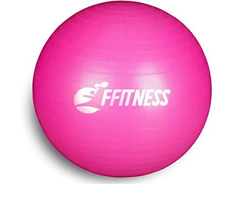 FFitness FSTBB75R Total Body Balance Ball per Ginnastica prenatale | Big Gymball (55 65 75 85 95 cm) antiscoppio per Core Stability | Esercizi Addominali, Resistenza, potenziamento (Rosa, 75 cm), (NA)