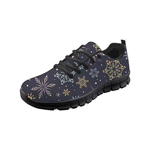 Coloranimal Merry Christmas Snowflakes Impreso Running Jogging Flats Gym Sports Go Easy Walking Zapatos Planos para Adolescentes Niñas Niños Unisex Regalos Malla Calzado Ligero EU37