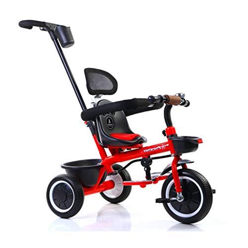 xy Triciclos Triciclo 2 En 1 con Campanas De Bicicleta Clásicas, Marco De Acero Vintage Y Asiento Ajustable, Toldo Ajustable For 4 Colores For Niños Y Niños De 1-3-5 ( Color : Red )