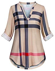 Burberry inspired scarf matches perfectly with this plaid tunic.