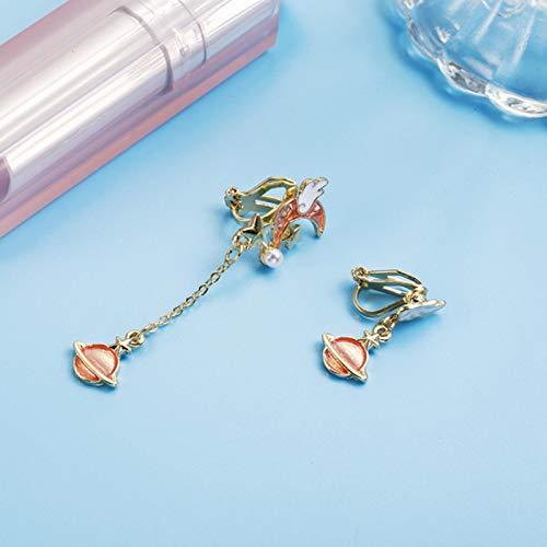 liuliu New Korean Creative Clip On Earrings Cute Blue Universe Moon Star Asymmetric Long Tassel for Girl Women Without Piercing