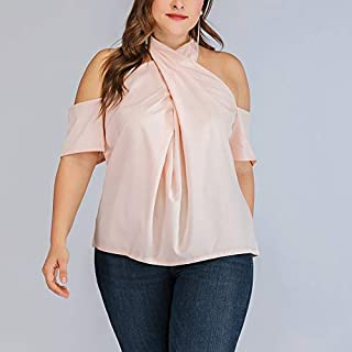 تي شيرت Large Size Women Off-Shoulder Shirt تي شيرت (Color : Pink, Size : XL)