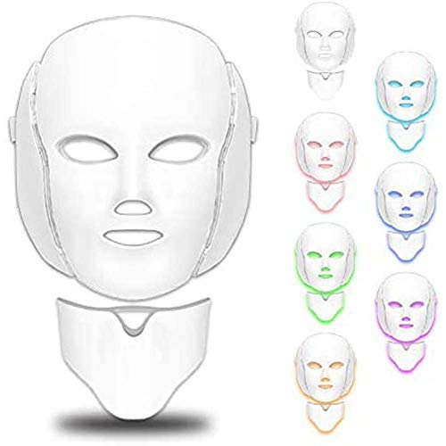 CKAN LED Masque du Visage acné Masque de luminothérapie 7 Couleurs Masque de luminothérapie Usage Domestique Machine de rajeunissement de la Peau Anti-âge Quotidien Soins de la Peau