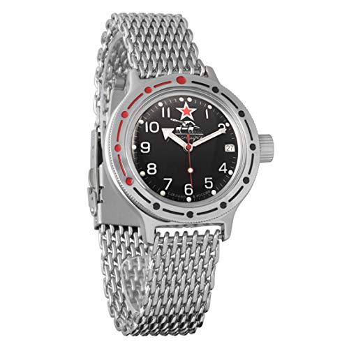 Vostok producto Nuevo de anfibios automático Self-winding Militar ruso Diver para hombre reloj de pulsera malla pulsera WR 200M # 420306