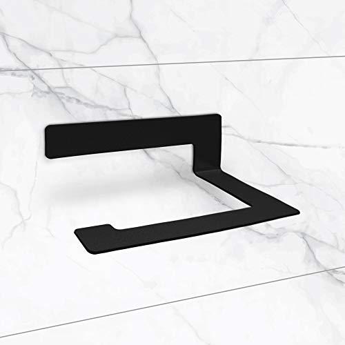 tradeNX Porte-papier toilette avec étagère de rangement – Support en acier inox – Accessoire wc – Montage facile et sans perçage – Couleur : noir