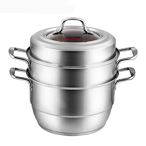 WSJ Multifunktionaler Gemüse-Topf, Kochgeschirr, Spaghetti-Knödel, Dampfgarer mit Edelstahlgriff, 30 cm im Durchmesser (Größe: 30 x 30 x 36 cm), 30*30*36CM