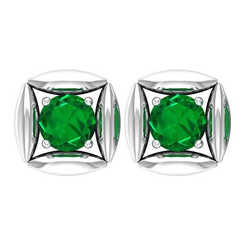 Rosec Jewels - Pendientes solitarios de esmeralda difusa de 5,00 mm, de oro (calidad AAAA), tornillo hacia atrás