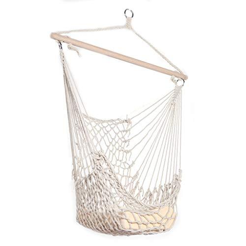 Hamac Panier Suspendu Balcon Salon Chaise Suspendue Balançoire Enfants Adulte Intérieur Extérieur Fauteuil À Bascule en Maille De Coton (Color : Beige, Taille : 130 * 90 * 52cm)