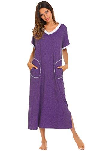 Ekouaer Womens Ultra-Soft Full Length Sleepwear Night Dress (Purple, X-Large)