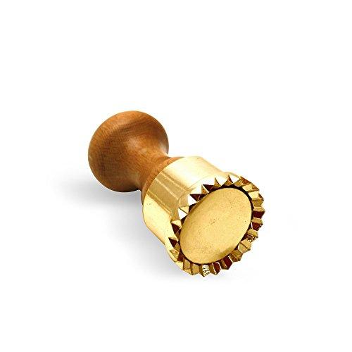 LaGondola Professionelle Runde Ravioli Stempel, aus Messing mit Holzgriff - 50 mm Durchmesser - Formen und Stanzer von den besten Restaurantküchen und Chefs benützt - Lebenslange Garantie