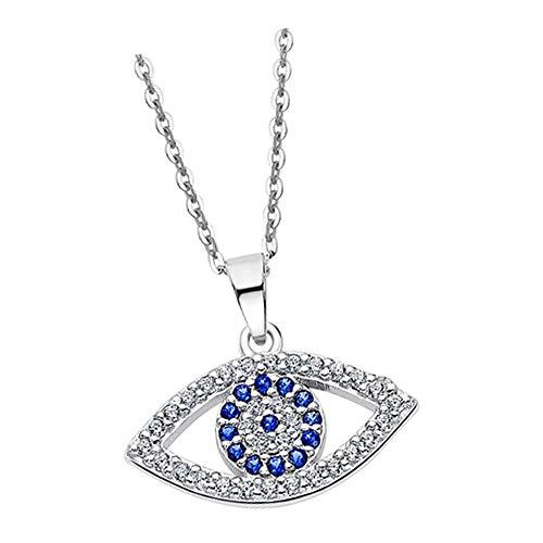 Lotus Silver Collar de plata de ley 925 con colgante de ojo de Horus, LP1970-1-1, con circonitas