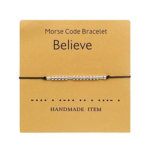 2pc Trearless Dios Es Un Buen Código Morse Pulsera Simple - Pulsera Hecha A Mano Pulsera En El Regalo De La Pulsera De La Amistad del Cordón para Su Joyería (Color : Believe, Size : 2pc)