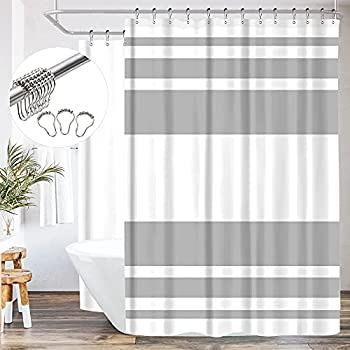 Riyidecor Clawfoot Tub Shower Curtain 180Wx70H Inch All Wrap Around Panel Grey and White Stripe Fabric Bathtub Set Extra Wide Polyester Waterproof 32 Pack Metal Hooks