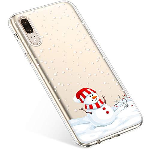 Uposao Kompatibel mit Handyhülle Huawei P20 Schutzhülle Silikon Transparent Durchsichtig Handyhülle Schutzhülle TPU Dünn Handytasche Etui Case Cover,Dekorativer Schneemann
