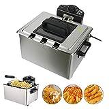 5L Edelstahl Fritteuse Regelbare Temperatur 2000 Watt Deep Fryer mit 3 Frittierkörben