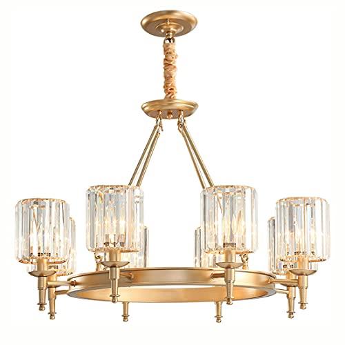 Aozu Lámpara Colgante de Techo de Cristal Dorado Moderno de Lujo lámpara Colgante Estilo Americano latón Cepillado lámpara Colgante para Dormitorio Sala de Estar Comedor Cocina Isla (8 Luces)