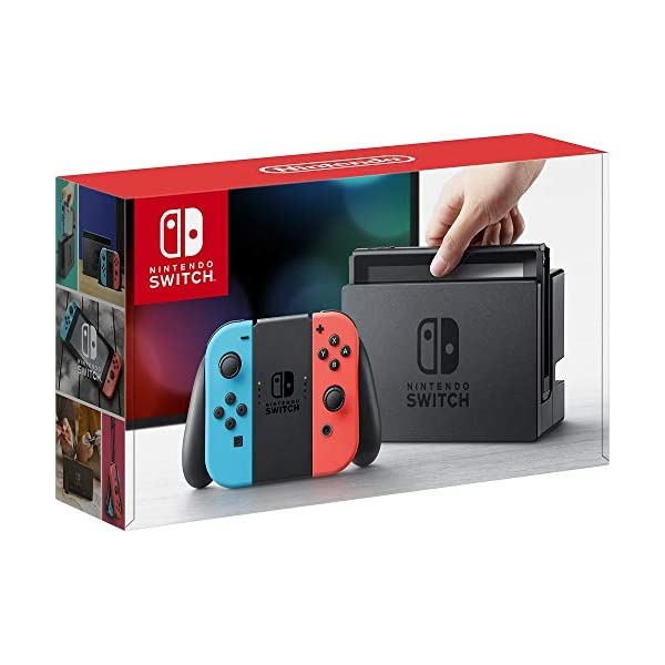 Nintendo Switch 32GB Console Video Games w/ 32GB Memory Card | Neon Red/Neon Blue Joy-Con | 1080p Resolution | 802.11ac WiFi | HDMI | Surround Sound | IR Motion Camera