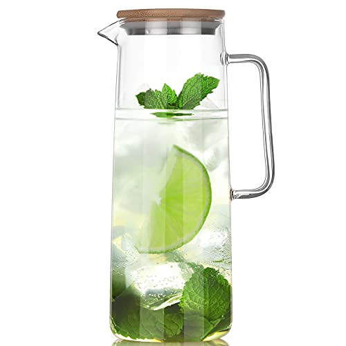 Cupwind 50oz Glass Water Pitcher with Tight Stainless Steel Lid, Glass Pitcher with Handle, Easy Clean Thicker Heat Resistant Borosilicate Glass Jug for Iced Tea, Juice, Milk, Cold or Hot Beverages