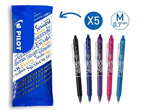 PILOT FriXion Clicker, radierbarer Tintenroller, 5er Set (Blau, Schwarz, Pink, Hellblau, Violett)