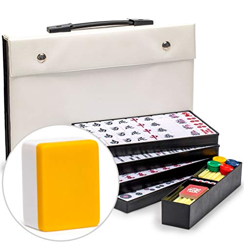 Yellow Mountain Imports Japanese Riichi Mahjong Set - White and Yellow Tiles and Vinyl Case - with East Wind Tile, Set of Betting Sticks, & Dice