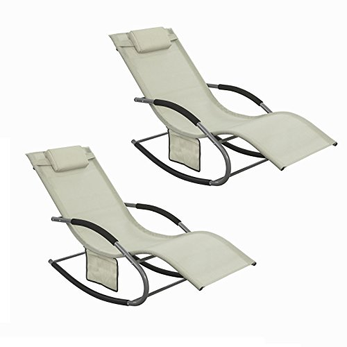 SoBuy Set of 2 Outdoor Garden Rocking Chair Relaxing Chair Recliner Sun Lounger with Side Bag, OGS28-MIx2, Beige