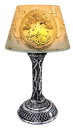 Ebros Gift 7' Tall Mini Celtic Divinity Tree of Life and Wisdom Figurine LED Night Light with Celtic Knotwork Patterns and Lace Vines Desktop Countertop Courtesy Lamp