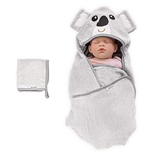 Navaris Toalla bebé con capucha - Set 1x poncho de baño hecho de bambú y 1x paño para niño recién nacido 0-12 M - Certificado Oeko-Tek - Koala