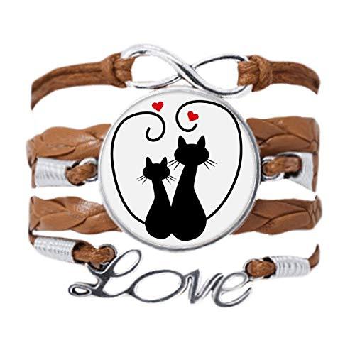 DIYthinker - Pulsera para amantes de los gatos, diseño de siueta de animales, San Valentín, cadena...