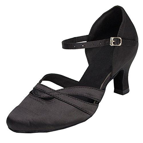 Zapatos de tacón bajo para mujer Minitoo TH152, de satén, cómodos, para bailes de salón, color Negro, talla 41.5
