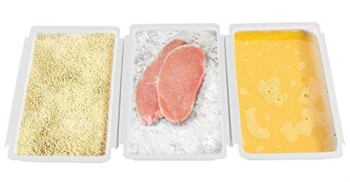 """HOME-X Linking Breading Trays, Baking Tray and Bread-Dipping Set for Chicken Cutlets and More, Set of 3, 10 ½ ' L x 6 ¾ ' W x 1 ½"""" H, White"""