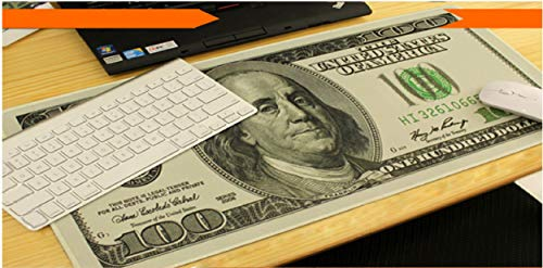 Large Gaming Mouse Pad & Desk Keyboard Mat Extended XXL Size, Heavy Thick, Soft for Desktop, Laptop, Keyboard, Vintage Retro Style with Stitched Edges, Non-Slip Rubber Base (100 Dollar Bill)