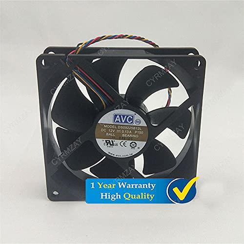 CYRMZAY Compatible for AVC DS09225B12L 92 * 92 * 25MM DC12V 0.13A 4Pin Cooling Ventilador