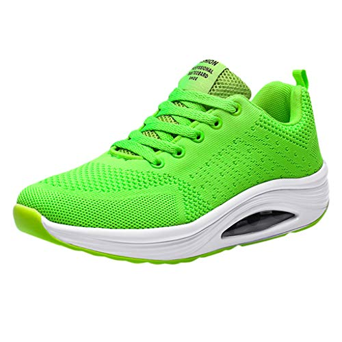 For Sale! KAIXLIONLY Women Wedges Sneaker Mesh Breathable Comfy Sports Shoes Lace-Up Swing Shoes Non Slip Casual Walk Running Shoe Green