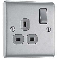 SLEEK AND SLIM BRUSHED STEEL SINGLE SWITCHED POWER SOCKET: From BG Electrical, has softly rounded corners and colour matching fixing screws – combining quality with modern elegance PART OF THE NEXUS METAL RANGE: The power socket has a lightly lacquer...