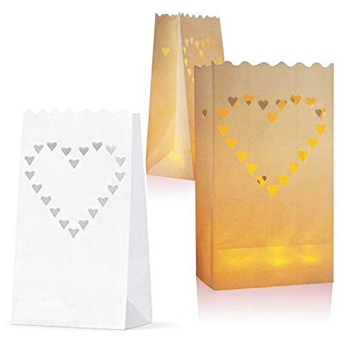 JAHEMU Bolsas para Velas Candle Bags Bolsas de luz Linternas de Papel Blanco Decorados para fiestas 20 pieza (Diseño de Corazón)