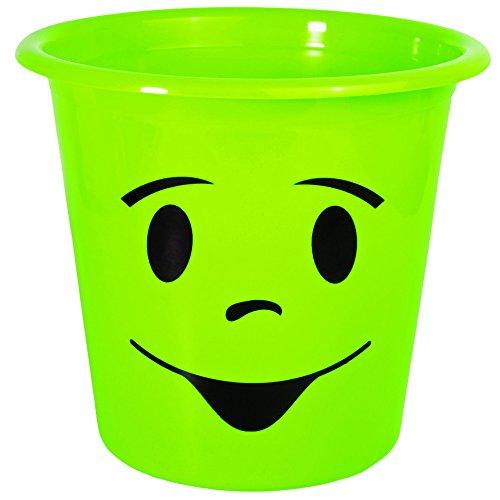 1 Stück _ Papierkorb / Behälter -  lustiges Gesicht - NEON grün  - 5 Liter - aus Kunststoff - Mülleimer Eimer / auch als Blumentopf nutzbar - Emotion / Emot..