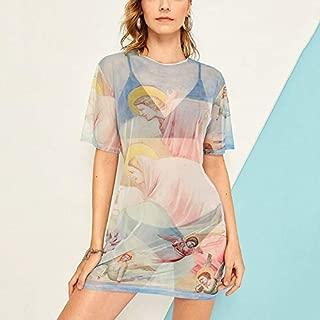 ملابس النساء Angel Print Short Sleeve Mesh Perspective Dress فستان (Color : Light Blue, Size : L)