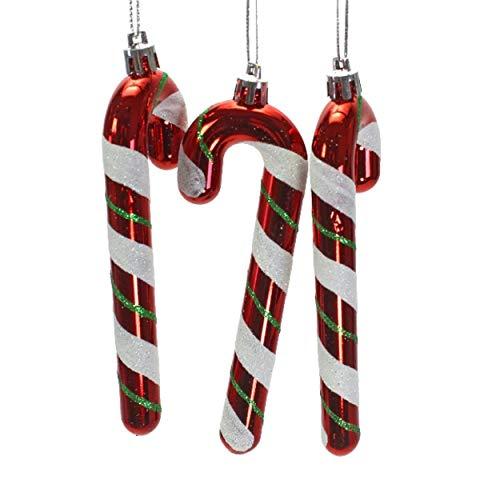 9 St. Zuckerstangen 12cm Rot Grün Weiß Glitzer Kunststoff Christbaumschmuck Baumschmuck Weihnachtsschmuck Tannenbaum Weihnachten Anhänger