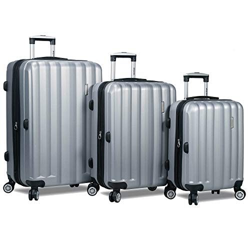 Dejuno Camden Hardside 3-Piece Expandable Spinner Luggage Set, Silver, One_Size