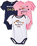 NFL Denver Broncos 3 Pack Ruffle Sleeve Team Bodysuit, blue/white/pink Denver Broncos, 0-3 Months