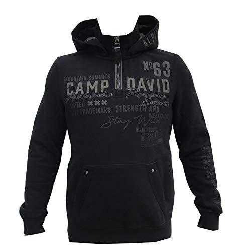 Camp David Herren Hoodie mit großem Artwork und Kängurutasche