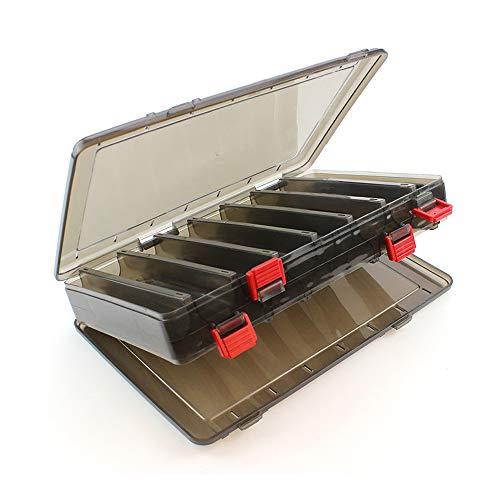 sylbx Boite leurres Transparent Imperméable Boîte à Outils Pêche 14 Compartiments Boîte Rangement Plastique Boite appats Double Faces avec Drain pour Accessoires Pêche