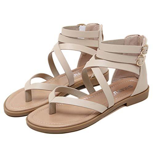 LANTUI Sandalias Mujer Sandalias Punta Abierta Zapatos Conducción para Caminar Zapatos Oficina Sandalias Playa Zapatos Romanos Tacón Plano con Cremallera,Apricot-38