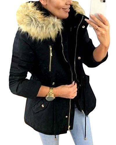 Minetom Damen Winter Jacke warm gefüttert Teddyfell Stepp Winterjacke Schwarz 36