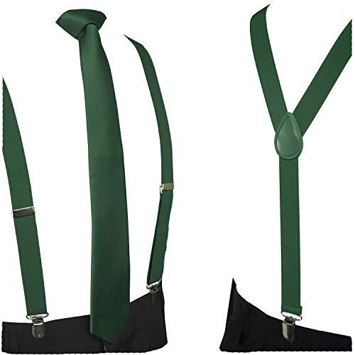 JEMYGINS Green Suspender and Silk Skinny Tie Sets for Men Slim Necktie(8)