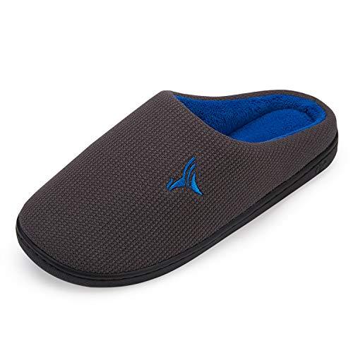VIFUUR Hombre Zapatillas de casa Espuma de Memoria de Alta Densidad Cálido Interior Lana al Aire Libre Forro de Felpa Suela Antideslizante Zapatos Gris Oscuro/Azul 42/43