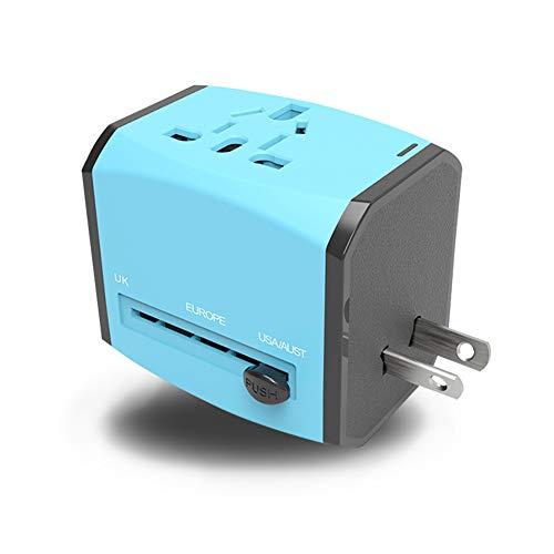 XZYP Adaptador De Viaje, Cargador De Pared De La Corriente Internacional Universal con 3 USB, Todo En Un Adaptador para Europa, Reino Unido, EE.UU, AU, Asia Y Más,Azul