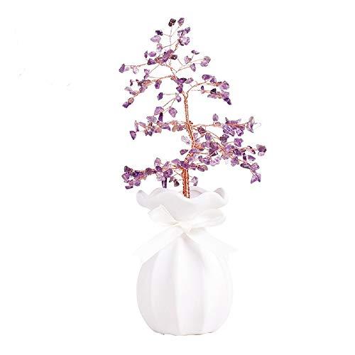 Liergou Árbol del Dinero Feng Shui de la Piedra Preciosa Adornos del árbol del Dinero Adecuado for Balcón Mesa De Oficina En Casa Decoración Feng Shui (Color : Purple, Size : Free Size)